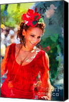 Editorial Canvas Prints - Passionate Gypsy Blood. Flamenco Dance Canvas Print by Jenny Rainbow