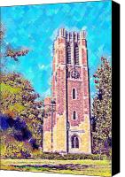 Michigan State Digital Art Canvas Prints - Pastel Beaumont Tower 2 Canvas Print by Paul Bartoszek