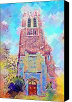 Michigan State Digital Art Canvas Prints - Pastel Beaumont Tower Canvas Print by Paul Bartoszek