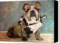 Bull Pastels Canvas Prints - Pastel English Brindle Bull Dog Canvas Print by Patricia L Davidson