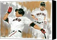 San Francisco Giants Painting Canvas Prints - Pat Burrell Study 1 Canvas Print by George  Brooks