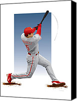 Outfield Digital Art Canvas Prints - Pat the bat Burrell Canvas Print by Scott Weigner