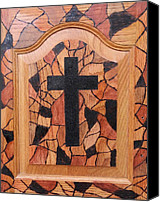 Wood Pyrography Canvas Prints - Patchwork and Cross Canvas Print by Lisa Brandel