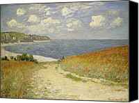 Oil On Canvas Canvas Prints - Path in the Wheat at Pourville Canvas Print by Claude Monet