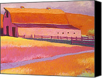 Landscapes Pastels Canvas Prints - Path to West Pasture Canvas Print by Mary McInnis