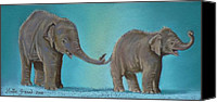 Elephant Pastels Canvas Prints - Pathi Harns Tail Canvas Print by Louise Green