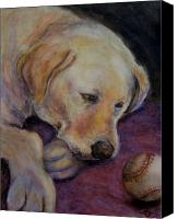 Baseball Pastels Canvas Prints - Patiently Waiting Canvas Print by Susan Jenkins