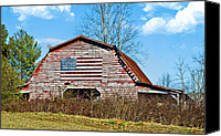 Susan Leggett Canvas Prints - Patriotic Barn Canvas Print by Susan Leggett
