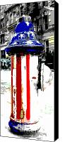 Patriotism Mixed Media Canvas Prints - Patriotic Fire Hydrant Canvas Print by Anahi DeCanio