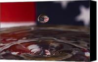 Fourth Of July Photo Canvas Prints - Patriotic Water Drop Canvas Print by Anthony Sacco