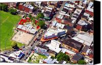 Aerial Canvas Prints - Pats King of Steaks and Genos Steaks South Philadelphia 4542 Canvas Print by Duncan Pearson