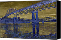 Etch Canvas Prints - Pattullo Bridge Canvas Print by Barbara  White
