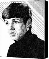 Paul Drawings Canvas Prints - Paul McCartney 1964 Canvas Print by Sheryl Unwin
