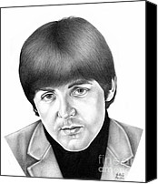 Celebrities Drawings Canvas Prints - Paul McCartney 1965 Canvas Print by Sheryl Unwin