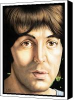 Paul Drawings Canvas Prints - Paul McCartney 1968 Canvas Print by Sheryl Unwin