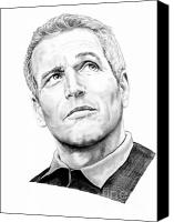 Paul Drawings Canvas Prints - Paul Newman  Canvas Print by Murphy Elliott