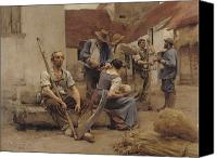 Studies Canvas Prints - Paying the Harvesters Canvas Print by Leon Augustin Lhermitte