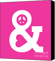 Iconic Canvas Prints - Peace and Love pink edition Canvas Print by Budi Satria Kwan
