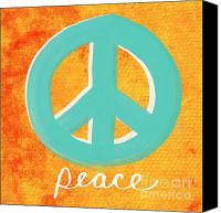 Aqua Canvas Prints - Peace Canvas Print by Linda Woods