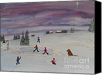 Christmas Cards Painting Canvas Prints - Peace on Earth...Goodwill Toward Men Canvas Print by Barbara McNeil