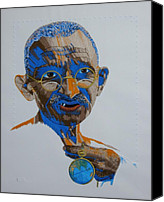 Embroidery Tapestries - Textiles Canvas Prints - Peace Portrait Four Gandhi Canvas Print by Barbara Lugge