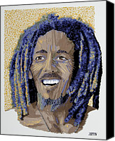 Impressionism Tapestries - Textiles Canvas Prints - Peace Portrait One Bob Marley Canvas Print by Barbara Lugge
