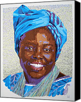Portraits Tapestries - Textiles Canvas Prints - Peace Portrait Three Wangari Maathai Canvas Print by Barbara Lugge