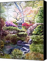 Simple Painting Canvas Prints - Peaceful Garden Canvas Print by Irina Sztukowski