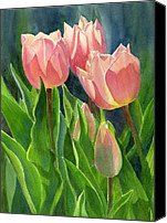 Peach Colored Canvas Prints - Peach Colored Tulips with Buds Canvas Print by Sharon Freeman