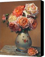 Cent Canvas Prints - Peach Roses in Porcelain Canvas Print by Lyndall Bass