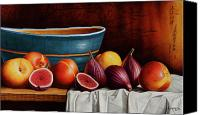 Vase Canvas Prints - Peaches and Figs Canvas Print by Horacio Cardozo