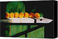 Still Life Pastels Canvas Prints - Peaches on a Ledge Canvas Print by Elise Okrend