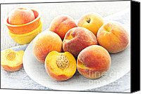 Bowls Canvas Prints - Peaches on plate Canvas Print by Elena Elisseeva