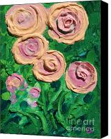Impasto Reliefs Canvas Prints - Peachy Roses Taking Form Canvas Print by Ruth Collis