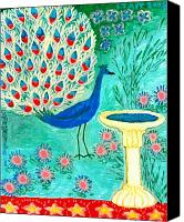 Peacocks Ceramics Canvas Prints - Peacock and Birdbath Canvas Print by Sushila Burgess