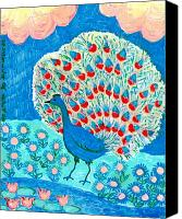 Music  Ceramics Canvas Prints - Peacock and lily pond Canvas Print by Sushila Burgess