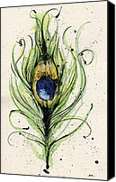 Yellow Mixed Media Canvas Prints - Peacock Feather Canvas Print by Mark M  Mellon
