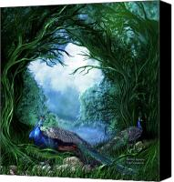 Animal Art Print Mixed Media Canvas Prints - Peacock Meadow Canvas Print by Carol Cavalaris