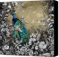 Limited Edition Mixed Media Canvas Prints - Peacock Pop Up Book Illustration Canvas Print by Carly Ralph