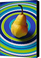Foodstuff Canvas Prints - Pear on plate with circles Canvas Print by Garry Gay