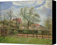 Signed Painting Canvas Prints - Pear Trees and Flowers at Eragny Canvas Print by Camille Pissarro
