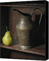 Still Life Pyrography Canvas Prints - Pear With Water Jug Canvas Print by Krasimir Tolev