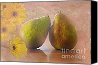 Digital Art Composite Canvas Prints - Pears and flowers Canvas Print by Betty LaRue