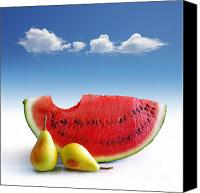 Melon Canvas Prints - Pears and Melon Canvas Print by Carlos Caetano