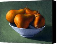Food Tapestries Textiles Canvas Prints - Pears in Blue Bowl Canvas Print by Frank Wilson