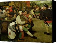 Crowd Scene Canvas Prints - Peasant Dance Canvas Print by Pieter the Elder Bruegel