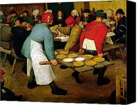 Diners Canvas Prints - Peasant Wedding Canvas Print by Pieter the Elder Bruegel