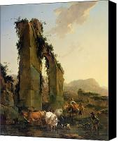 Ruin Painting Canvas Prints - Peasants with Cattle by a Ruined Aqueduct Canvas Print by Nicolaes Pietersz Berchem