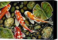 Pond Pastels Canvas Prints - Pebbles and Koi Canvas Print by Elizabeth Robinette Tyndall