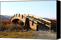 Wood Bridges Canvas Prints - Pedestrian Bridge At Martinez Regional Shoreline Park in Martinez California . 7D10506 Canvas Print by Wingsdomain Art and Photography